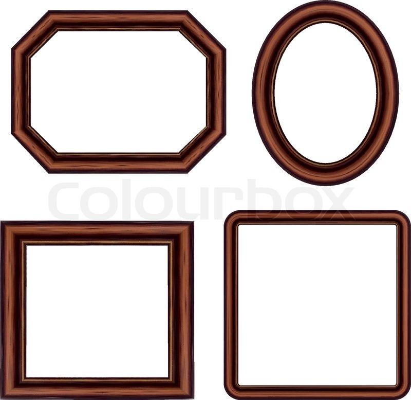 set of vintage brown picture frames vector vector