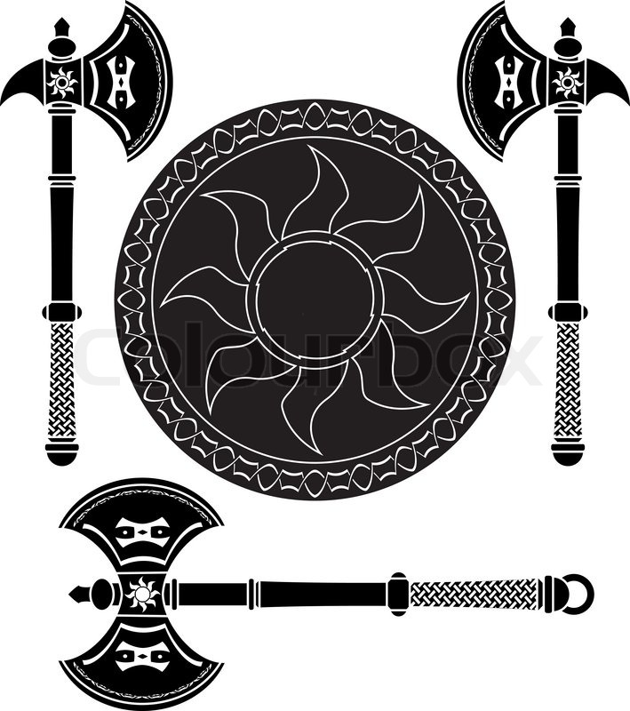 fantasy shield and swords of vikings vector illustration stock vector colourbox. Black Bedroom Furniture Sets. Home Design Ideas