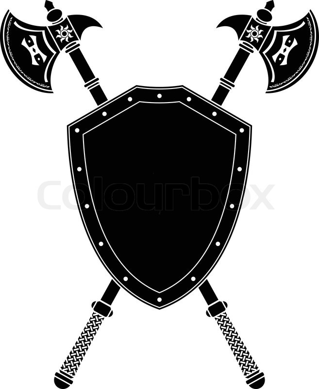 Long Axes And Shield Stencil Vector Illustration Stock