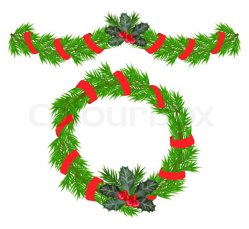 Christmas garland and a wreath with holly berries stock