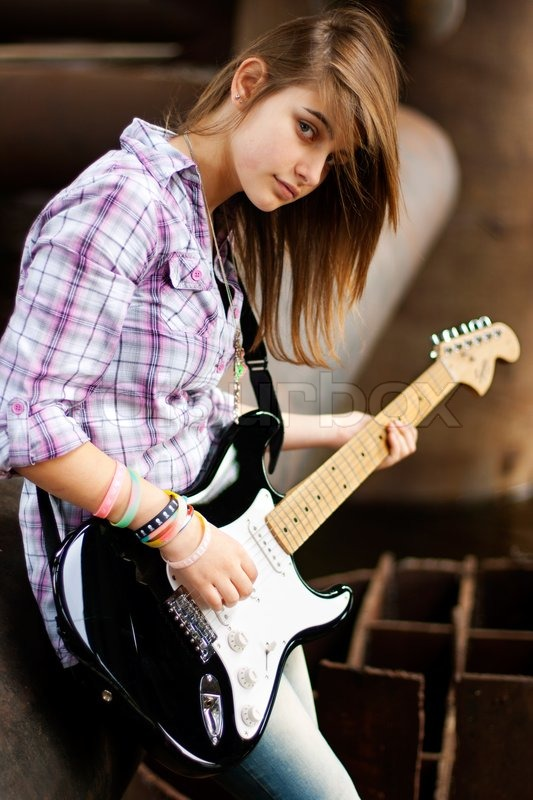 style brunette girl with guitar stock photo colourbox