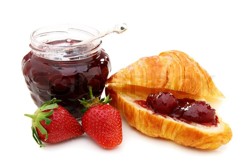 Croissant with strawberry jam and fresh berries | Stock ...