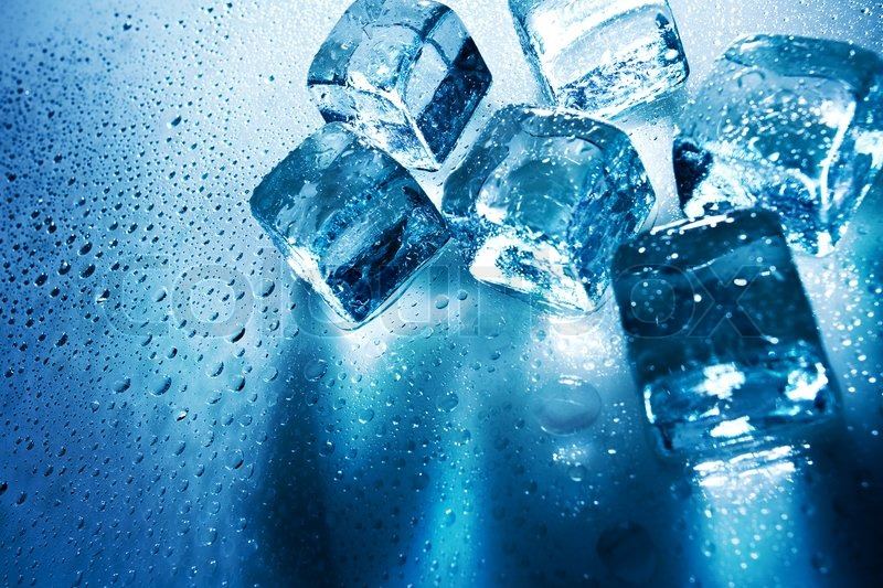 Ice Cubes Over Wet Backgrounds With Stock Photo
