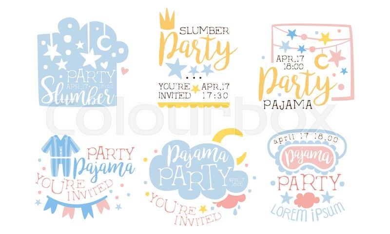 Pajama Party Invitation Card Templates Stock Vector