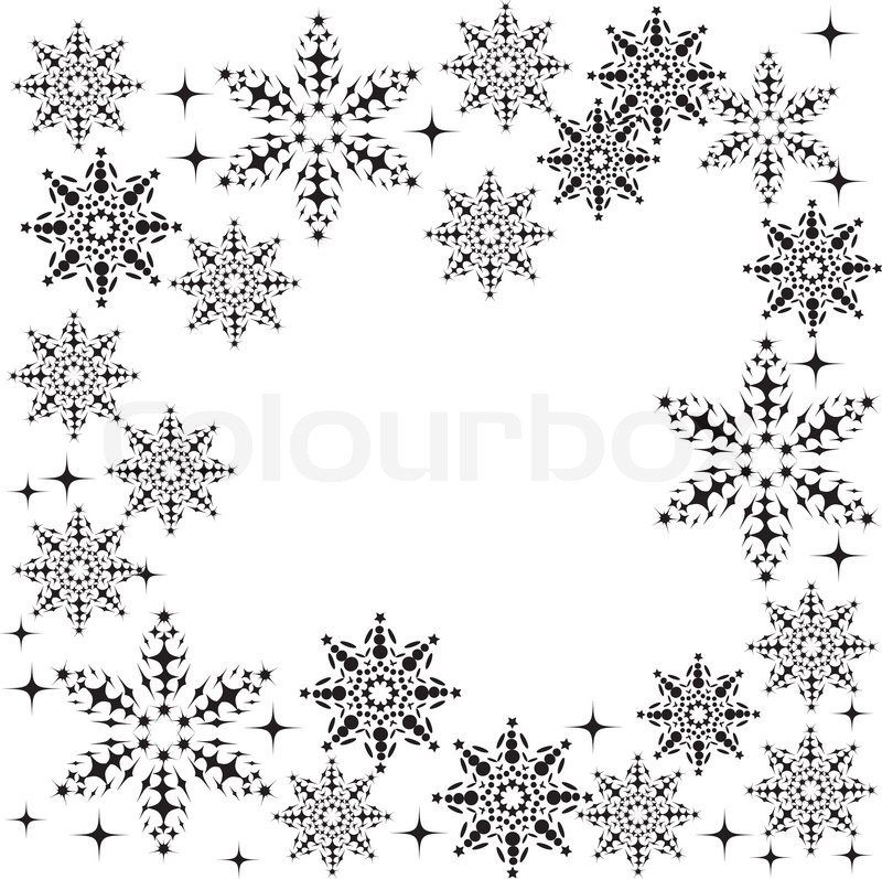 Floral winter frame with snowflakes | Stock Vector | Colourbox