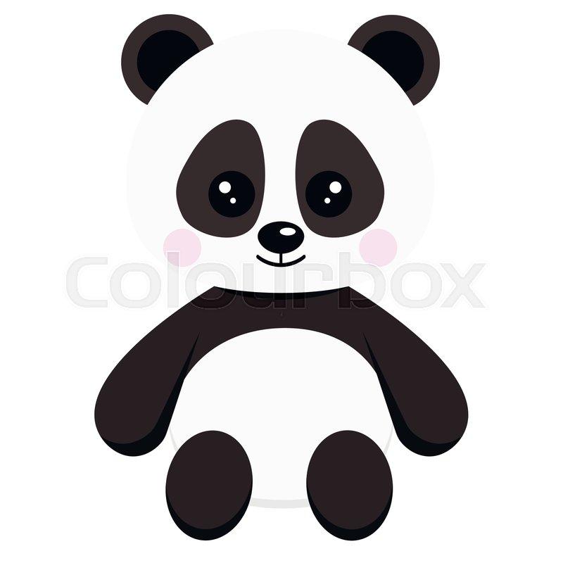 Cute Sweet Little Baby Panda Bear Toy Stock Vector Colourbox