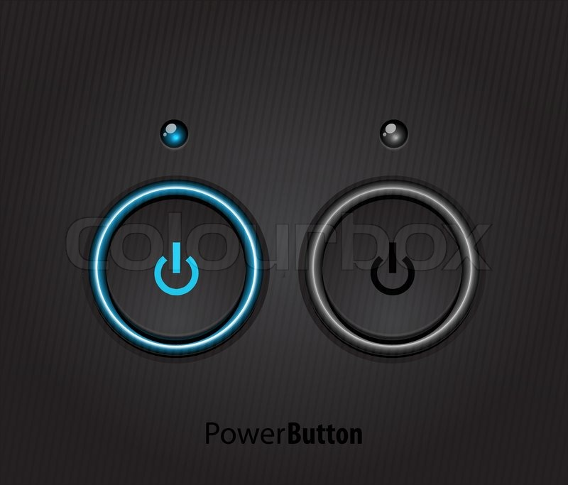 Black Led Light Power Button Stock Vector Colourbox