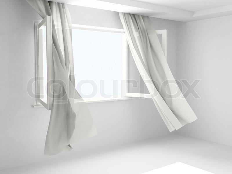 ffnen sie fenster mit vorh ngen stockfoto colourbox. Black Bedroom Furniture Sets. Home Design Ideas