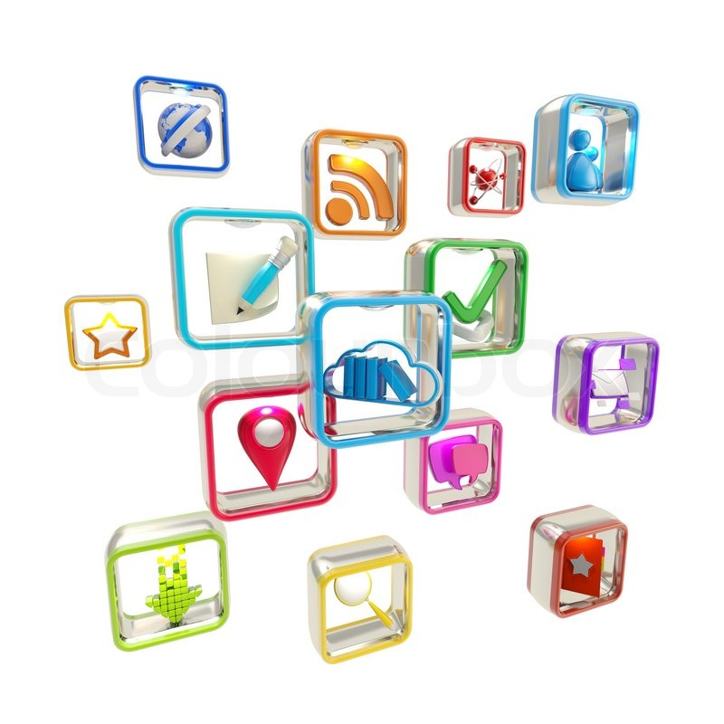 Mobile Computer Application Icons Isolated Stock Photo