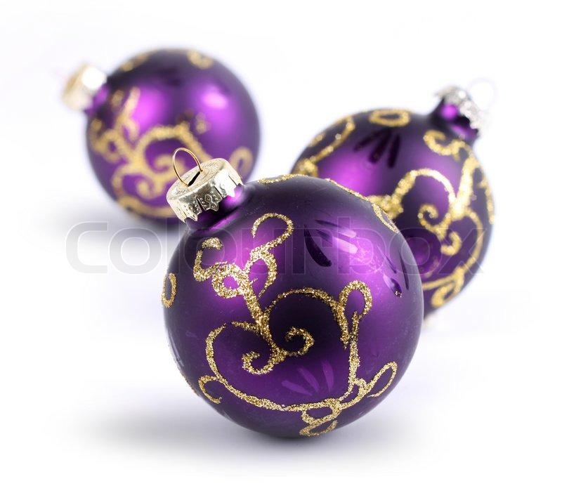 Three Purple Christmas Balls