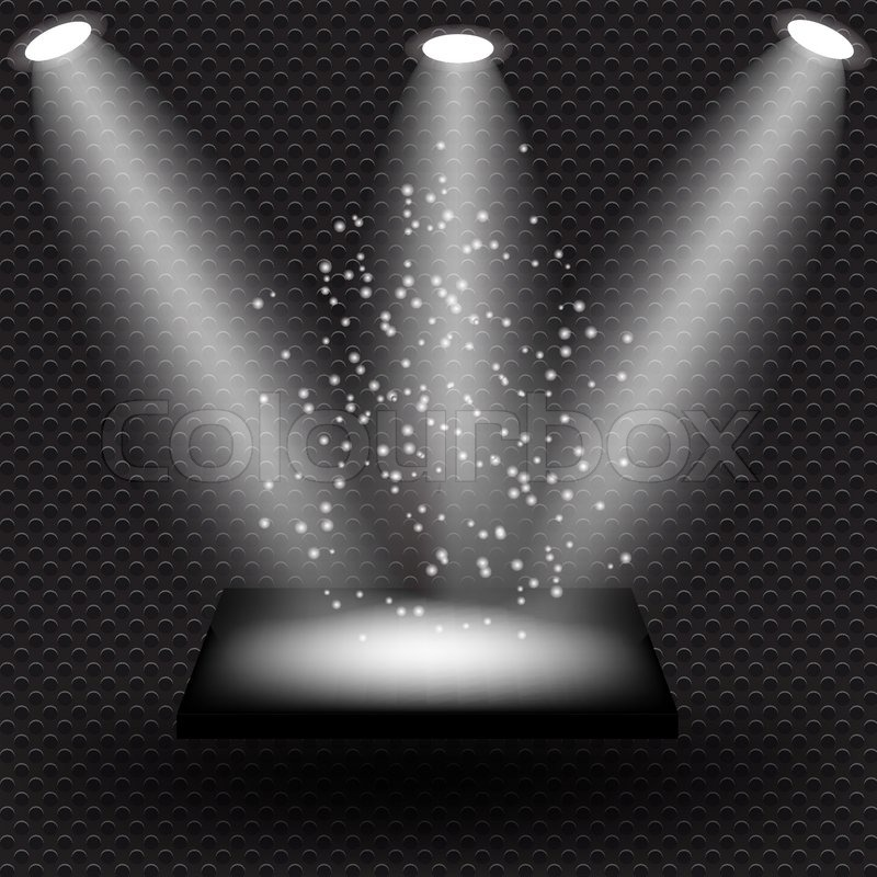 Empty Black Shelve On Metal Background With Lights Vectorillustration
