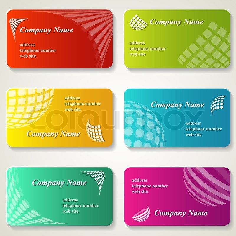 A set of business cards with logos. Vector illustration. | Stock ...
