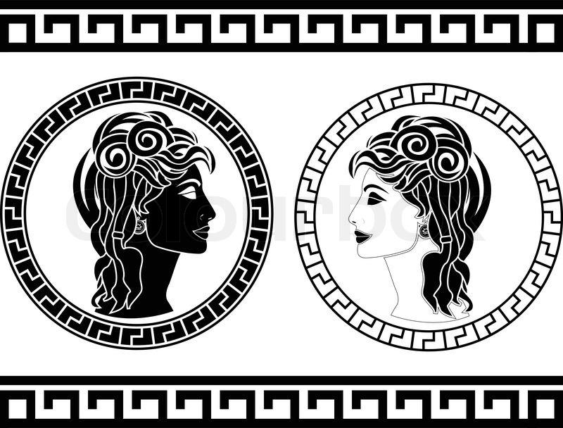 Profiles Of Roman Woman Stencil Vector Illustration Stock Vector Colourbox