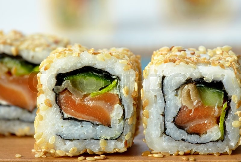 Sushi With Salmon And Cucumber With Stock Image