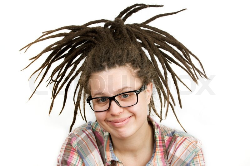 Young Woman With Dreadlocks Wearing Glasses Stock Photo