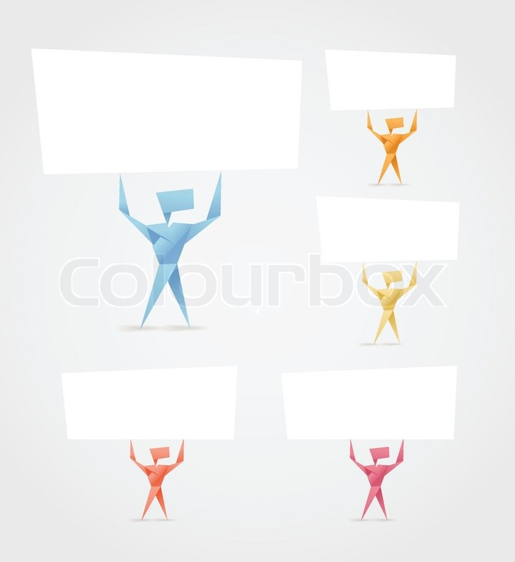 Abstract Origami Men With Paper Banners Template For A Text
