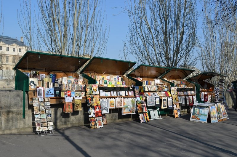 Image result for photo of book stalls along the seine river