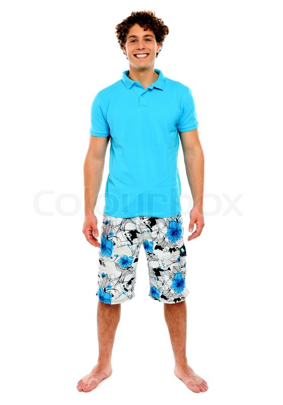 Man Standing In Shorts Stock Photo Colourbox