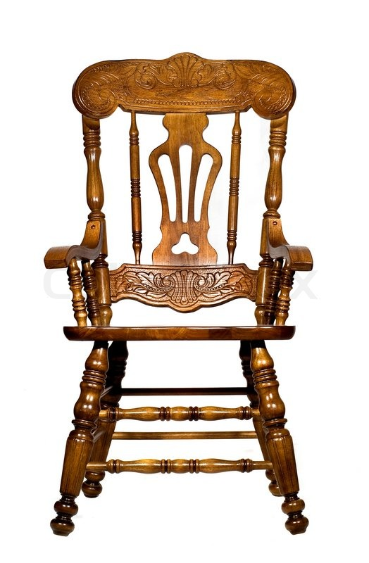 Antique wooden chair front view, stock photo - Antique Wooden Chair Front View Stock Photo Colourbox