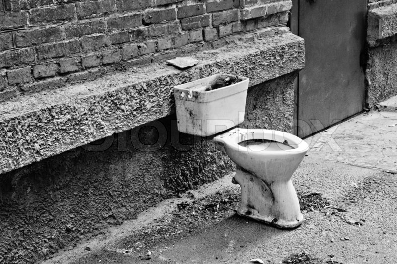 Old Dirty Toilet In The Yard Black And Stock Photo