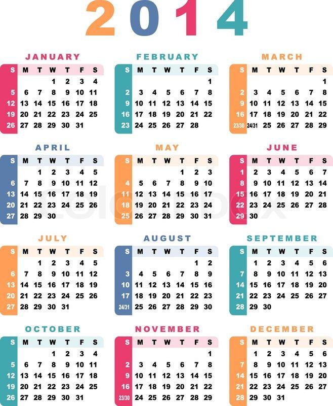 kalendar stock 2014 Calendar 2014 week starts with sunday | Stock Vector | Colourbox kalendar stock 2014