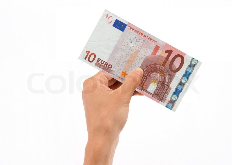 hand holding 10 euro bill stock photo colourbox. Black Bedroom Furniture Sets. Home Design Ideas