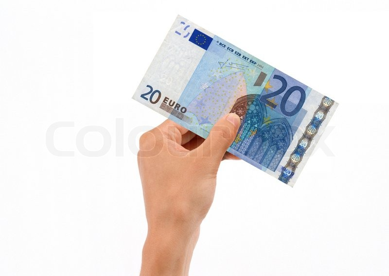 hand holding 20 euro bill stock photo colourbox. Black Bedroom Furniture Sets. Home Design Ideas