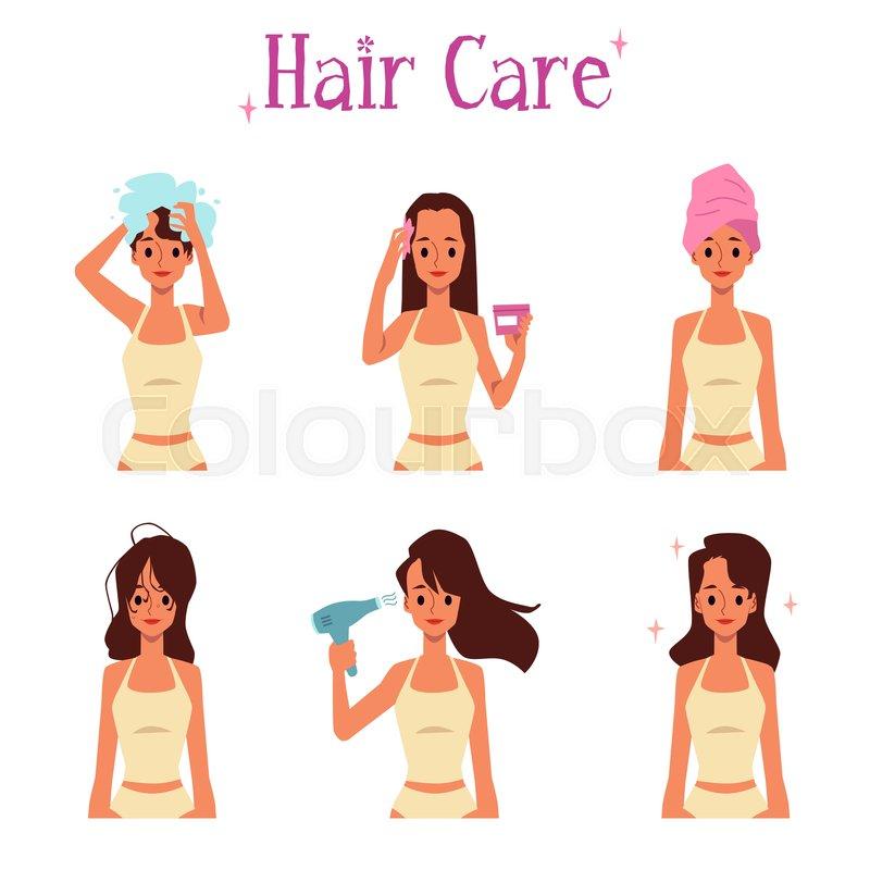 Cartoon Woman Hair Care Routine Set Stock Vector Colourbox