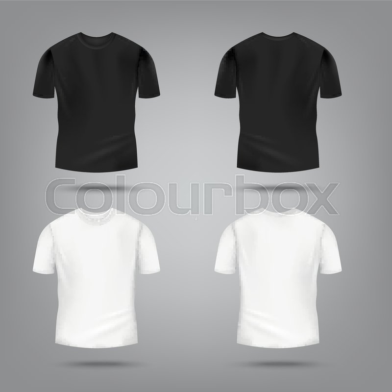 Black And White Male T Shirt Mockup Stock Vector Colourbox