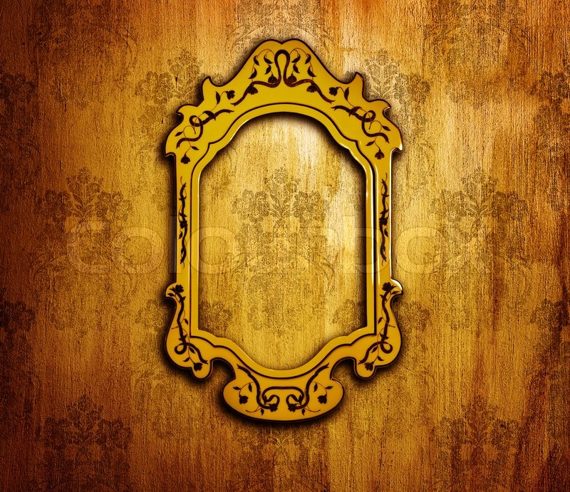 Vintage interior design old golden mirror frame on retro grunge wall artwork and picture aged Home design golden city furniture