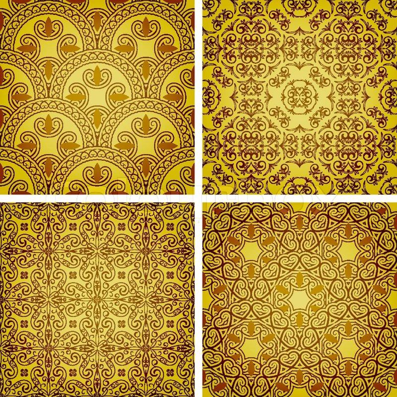 Tapete Orientalisches Muster vector nahtlose goldene muster orientalischen stil kann als