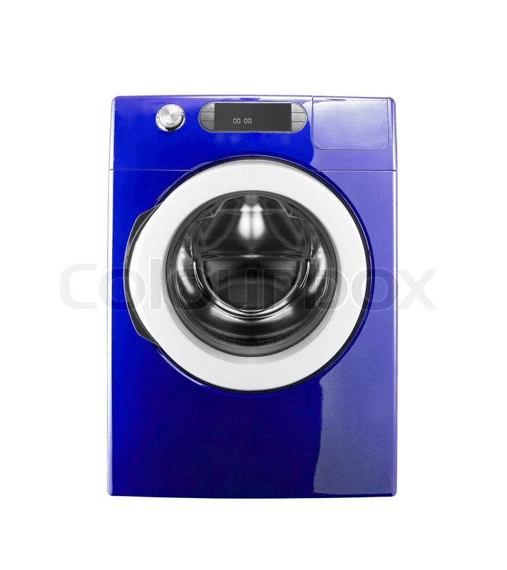 blue washing machine isolated stock photo colourbox. Black Bedroom Furniture Sets. Home Design Ideas