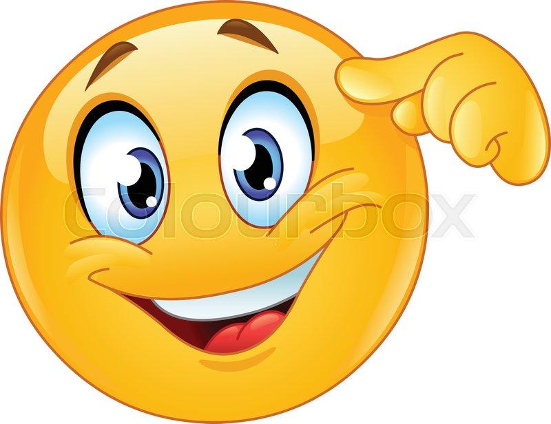 Happy Emoji Emoticon Pointing Finger Stock Vector Colourbox