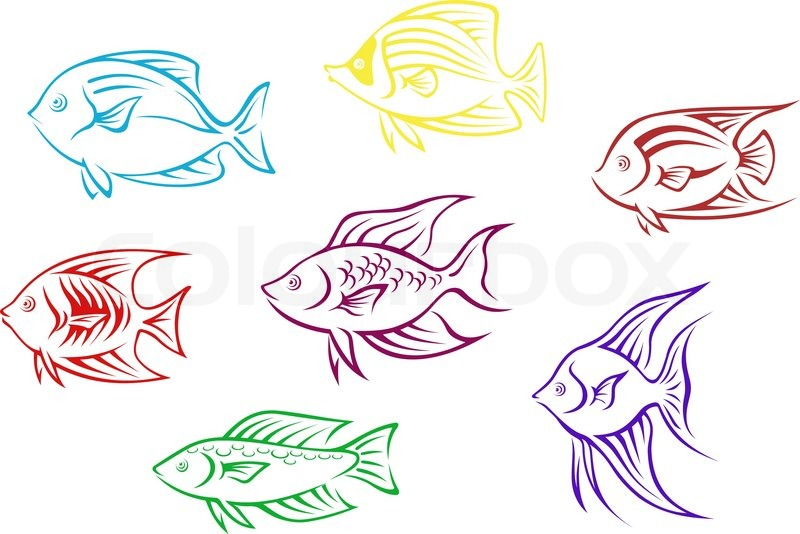 Aquarium Fish Silhouettes Stock Vector Colourbox