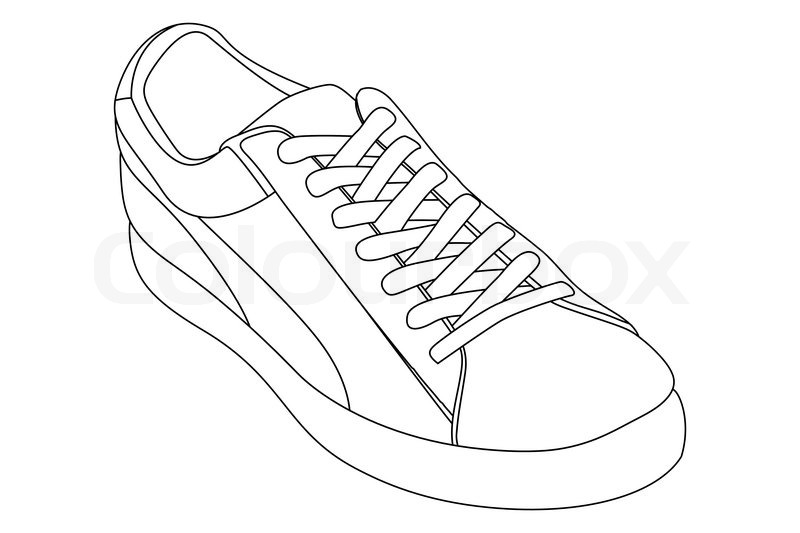 Running Shoe Outline Stock vector of 'shoes'