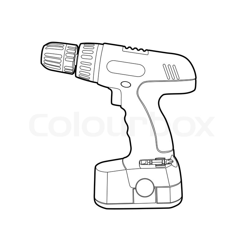 Hand Drill Drawing Cordless Drill Vector