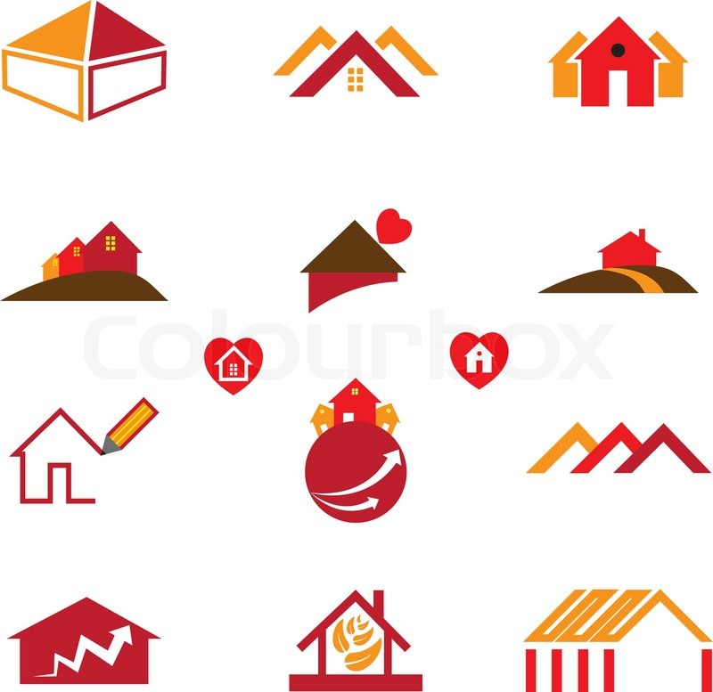 House office logo icons for real estate business stock for Office logo
