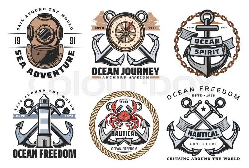 Vector Marine Heraldic Symbols And Stock Vector