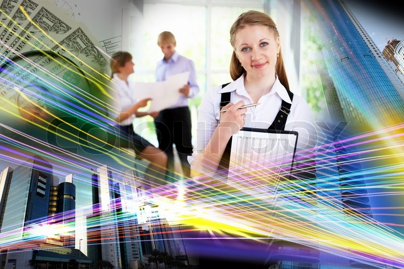 Business People Against It Background Stock Photo