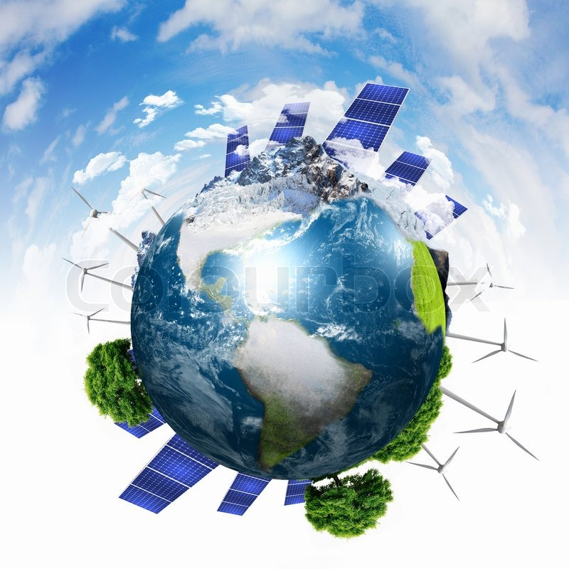 Planet Earth With Solar Energy Batteries Stock Photo