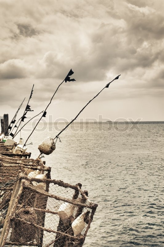 Fishing Rods On A Pier Stock Photo Colourbox