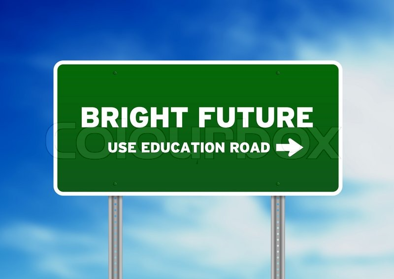 Green Bright Future Highway Sign On Cloud Background