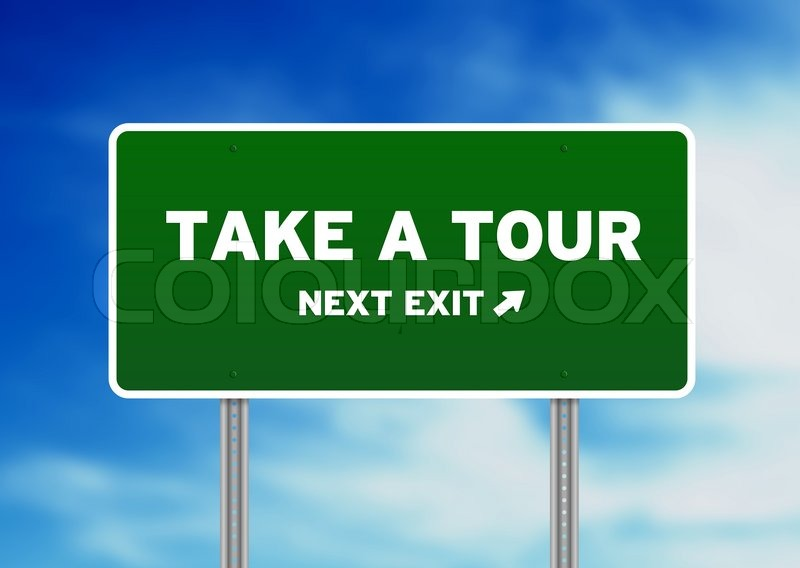 take a tour highway sign stock photo colourbox
