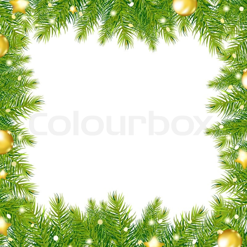 Border With Christmas Tree And Gold Ball | Stock Photo ...