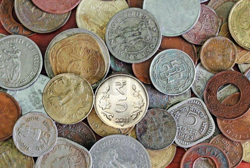 Neue Alte Und Alte Indische Münzen Hintergrund Stockfoto Colourbox