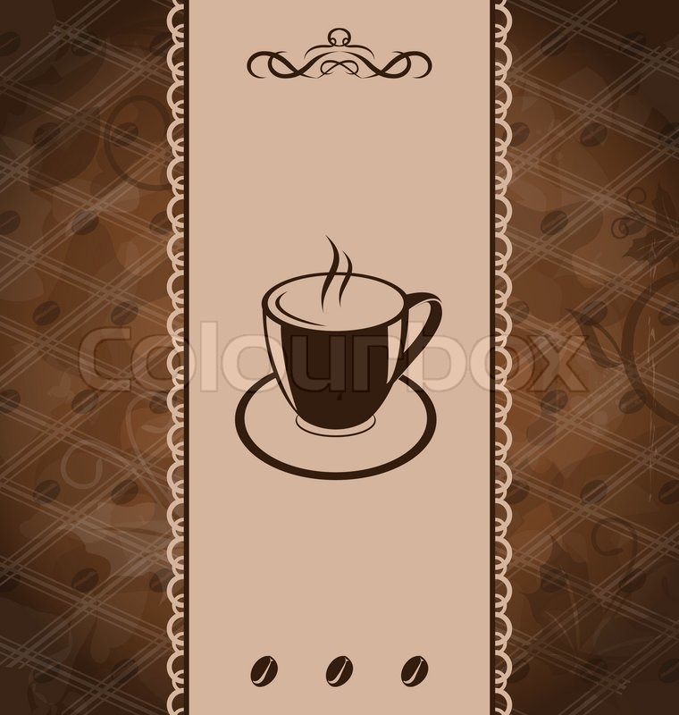 Illustration vintage background for coffee menu, coffee bean texture ...