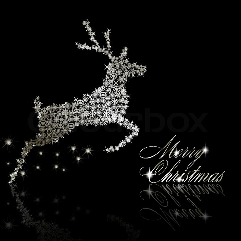 Silver christmasdeer made of snowflakes with stars on - Black and silver christmas ...
