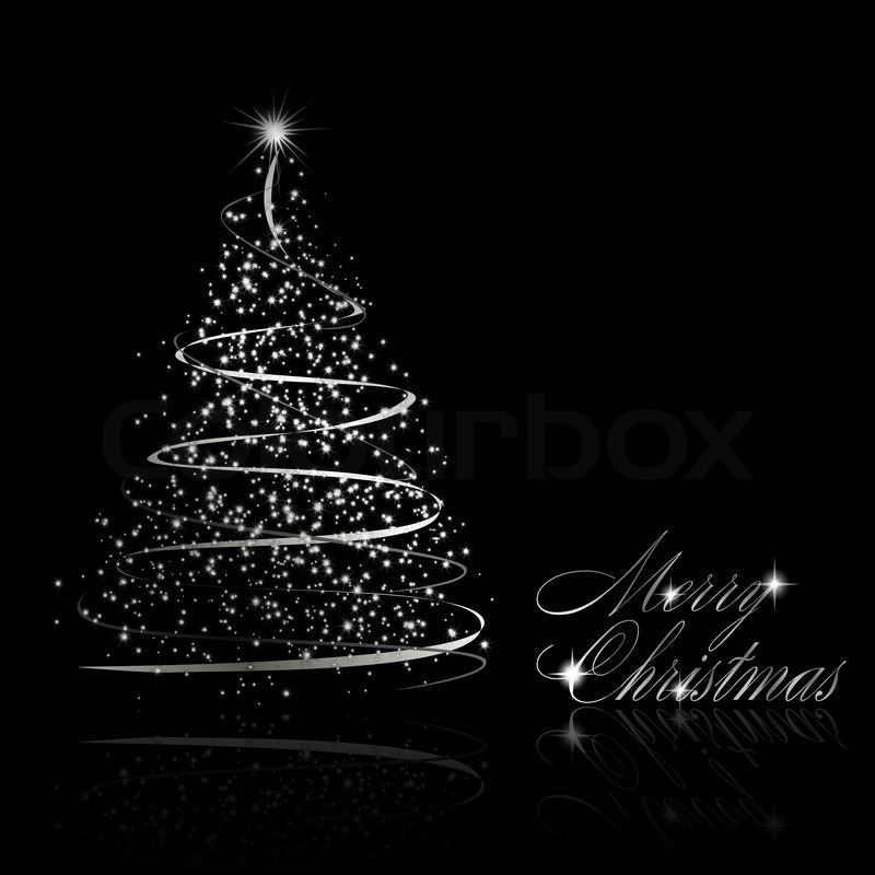 abstract silver christmas tree on black background stock photo colourbox