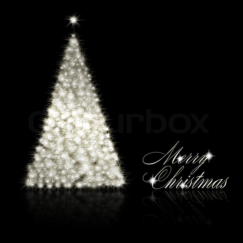 silver christmas tree on black background stock photo colourbox - Black And Silver Christmas Tree