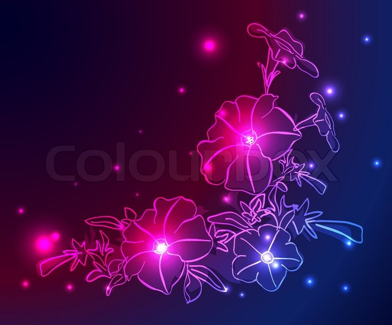 Neon Backgrounds on Stock Vector Of  Vector Neon Background With Flowers And Stars